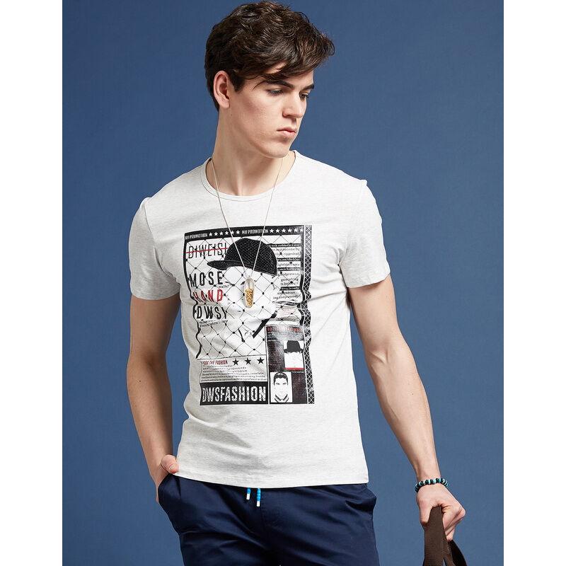 男圆领棉弹力摩西手绘休闲短袖印花t恤