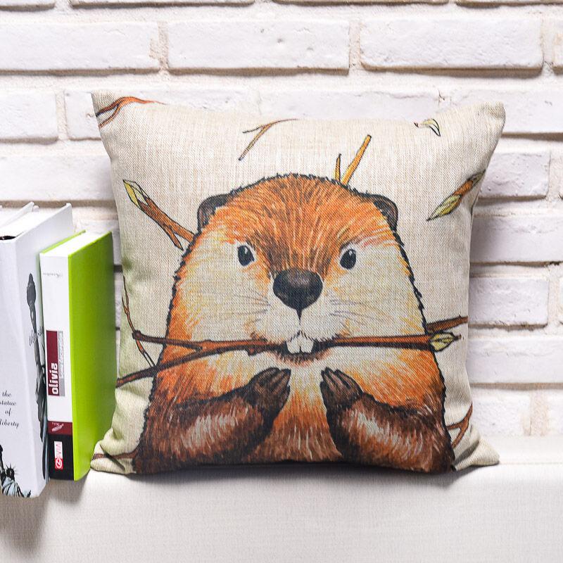 卡通田园风手绘可爱动物棉麻抱枕