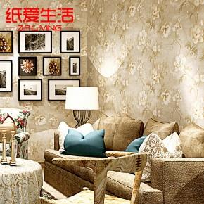 纯纸大花电视背景墙客厅田园卧室壁纸温馨浪漫美式