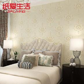 欧式壁纸田园无纺布墙纸卧室客厅背景墙纸大马士革
