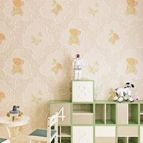 无纺布欧式大马士革浮雕小熊儿童房墙纸温馨卧室卡通