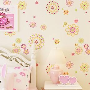 可爱儿童房公主女孩温馨卧室无纺布墙纸3d太阳花田园壁纸