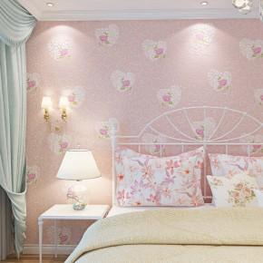 欧式田园墙纸无纺布心形婚房温馨卧室客厅儿童房满铺壁纸